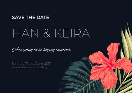 wedding reception decoration: Wedding invitaion and card design with exotic tropical flowers and leaves, vector illusrtation Illustration