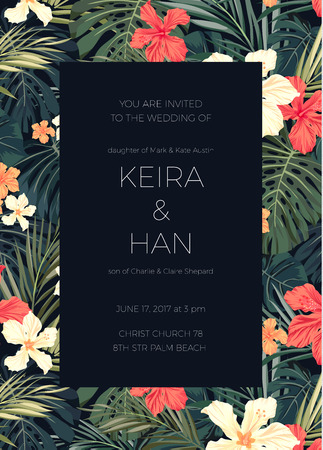jungle plants: Wedding invitaion and card design with exotic tropical flowers and leaves, vector illusrtation Illustration