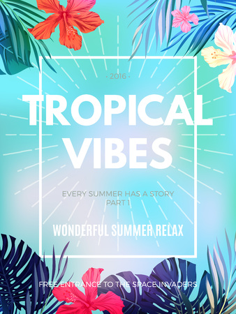 Bright hawaiian design with tropical plants and hibiscus flowers, vector illustration Ilustração