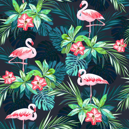 Tropical summer seamless pattern with flamingo birds and jungle flowers, vector illustration Vettoriali