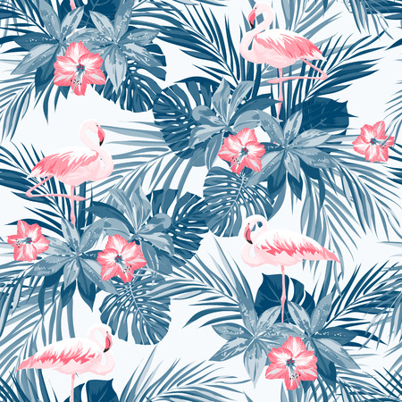 Indigo tropical summer seamless pattern with flamingo birds and exotic flowers, vector illustration, vector illustration Vettoriali