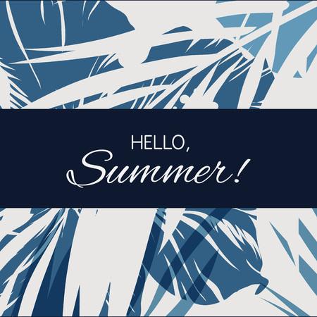 indigo bleu été tropical fond hawaïen avec des feuilles de palmier et de fleurs exotiques, illustration vectorielle Vecteurs