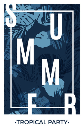 beach ad: Blue indigo summer tropical hawaiian background with palm tree leaves and exotic flowers, vector illustration