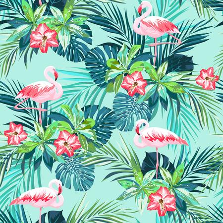 플라밍고 조류와 정글 꽃, 벡터 일러스트 레이 션 열 대 여름 원활한 패턴