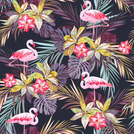 Tropical summer seamless pattern with flamingo birds and exotic plants, vector illustration Vectores