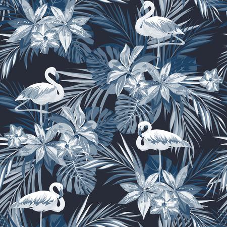 인디 고 플라밍고 조류와 이국적인 꽃, 벡터 일러스트와 함께 열 대 여름 원활한 패턴