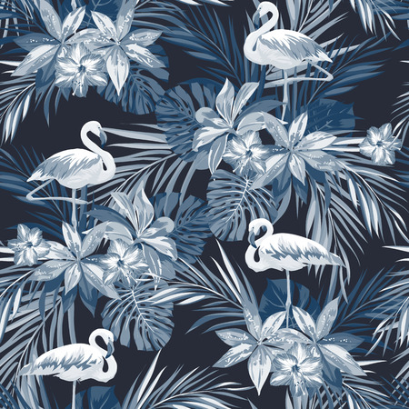 Indigo tropical summer seamless pattern with flamingo birds and exotic flowers, vector illustration