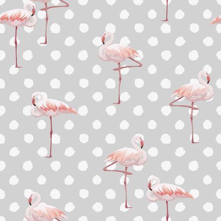ピンク フラミンゴ シームレス パターン テクスチャ背景、ベクター グラフィックと