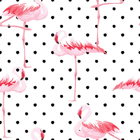 Pink flamingo seamless pattern with textures background, vector illustration Banco de Imagens - 60219348