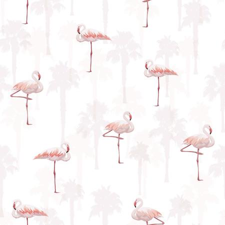 Tropical summer seamless pattern with flamingo birds, vector illustration Banco de Imagens - 60219356