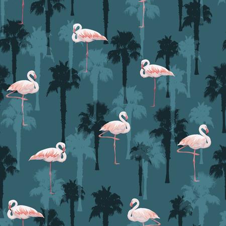 flamingos: Tropical summer seamless pattern with flamingo birds, vector illustration Illustration
