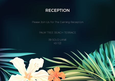 wedding reception decoration: Wedding invitation and card design with exotic tropical flowers and leaves, vector illustration Illustration