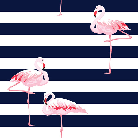 Hand drawn pink flamingo seamless pattern with stripes, vector illustration