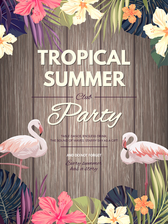 Bright hawaiian design with tropical plants and hibiscus flowers, vector illustration 向量圖像