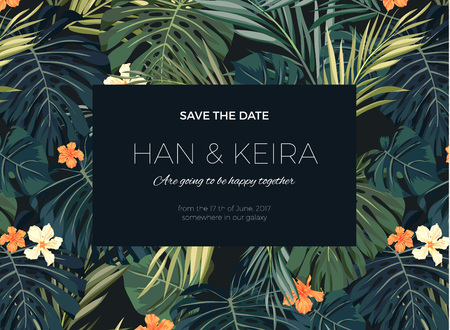 Wedding invitation and card design with exotic tropical flowers and leaves, vector illustration Vettoriali