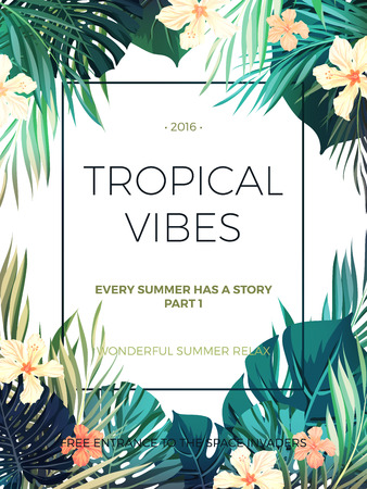 Bright hawaiian design with tropical plants and hibiscus flowers, vector illustration 矢量图像