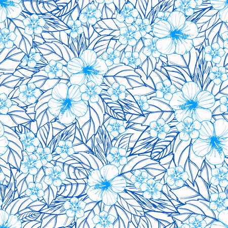 polynesia: Tropical seamless pattern with exotic plants and hibiscus flowers. Vector illustration.