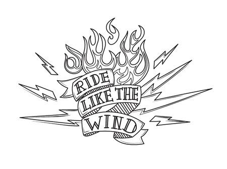 Vintage old school biker tattoo, vector illustration
