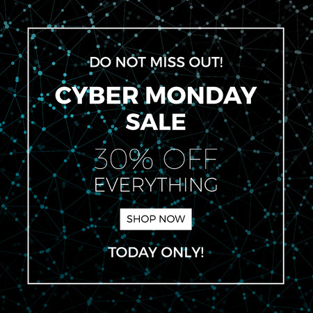 web store: Cyber monday concept design for banner, flyer and advertisement, vector illustration. Illustration