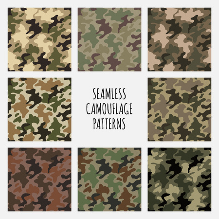 fatigues: Modern fashion trendy camo pattern set, vector illustration