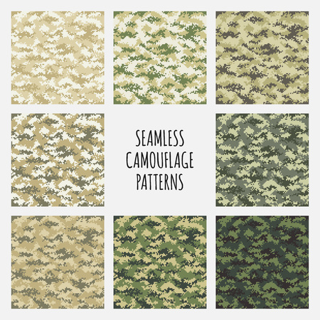 fatigues: Modern vector fashion trendy camo pattern set Illustration
