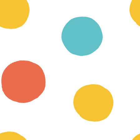Seamless multicolored baby vector free hand doodle polka dot texture, dry brush ink art.