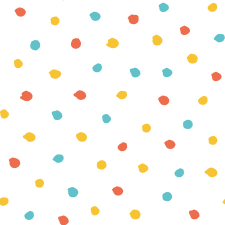 kiddie: Seamless multicolored baby vector free hand doodle polka dot texture, dry brush ink art.