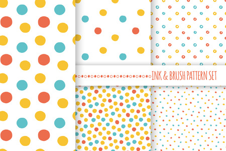 kiddie: Set of seamless vector free hand multicolored baby doodle polka dot and circle textures, dry brush ink art.