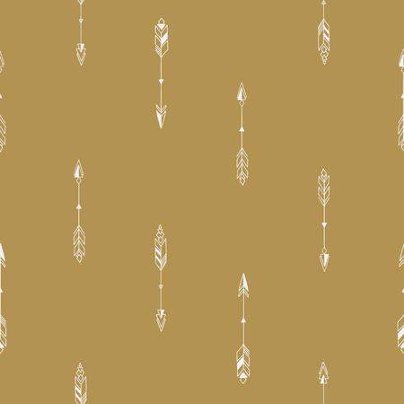 Seamless hand drawn geometric tribal pattern with arrows. Vector navajo design.