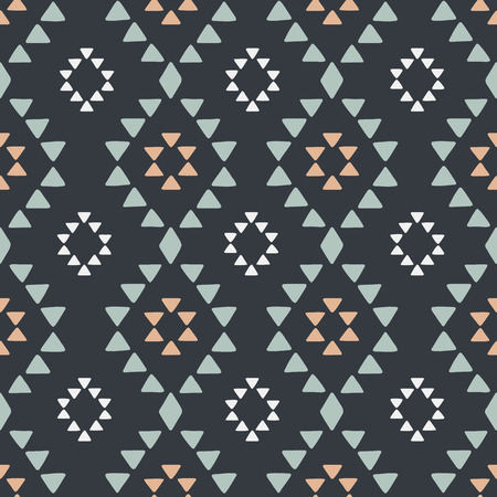 native american baby: Seamless hand drawn geometric tribal pattern with rhombuses and triangles. Vector navajo design.