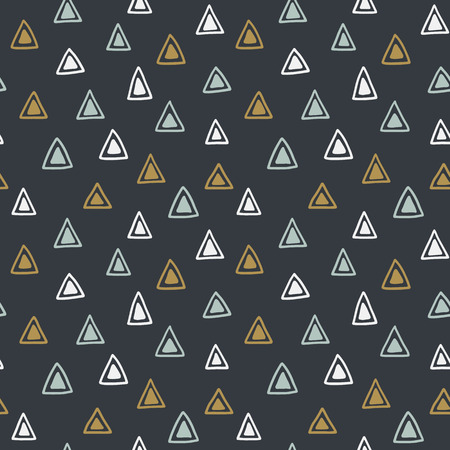 native american baby: Seamless hand drawn geometric tribal pattern with triangles. Vector navajo design.