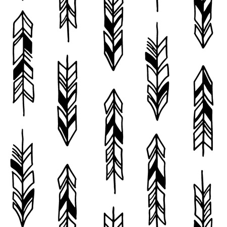 native american baby: Hand drawn geometric tribal pattern with feathers. Illustration