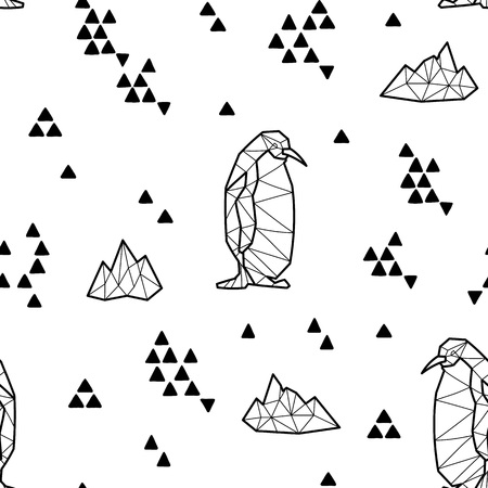 floe: Seamless black and white kids tribal vector pattern with penguins and triangles.