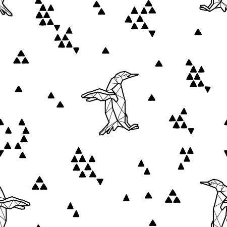 antarctic: Seamless black and white kids tribal vector pattern with penguins and triangles.