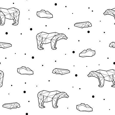 Seamless black and white kids tribal vector pattern with polar bears and ice floes.