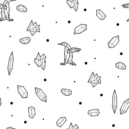 floe: Seamless black and white kids tribal vector pattern with penguins and low-poly crystals.