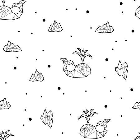 floe: Seamless black and white kids tribal vector pattern with whales and ice floes.