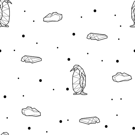 Seamless black and white kids tribal vector pattern with penguins and ice floes.