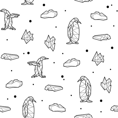 floe: Seamless black and white kids tribal vector pattern with penguins and ice floes.