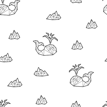 Seamless black and white kids tribal vector pattern with whales and ice floes.