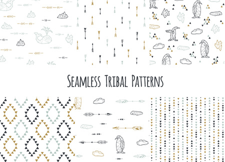 native american baby: Set of navajo tribal patterns with low poly penguins.