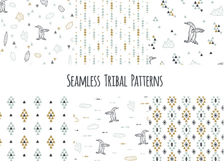 floe: Set of navajo tribal patterns with low poly penguins.
