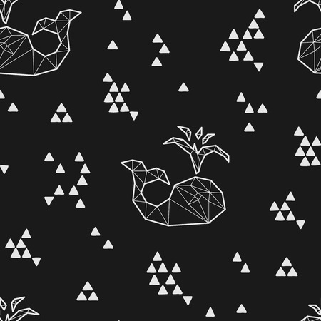 antarctic: Seamless black and white tribal vector pattern with whales and triangles. Illustration