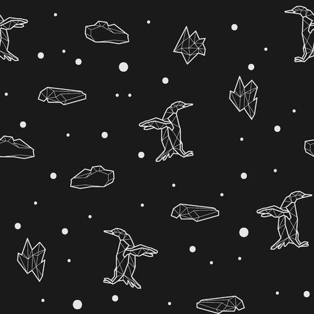 antarctic: Seamless black and white kids tribal vector pattern with penguins and ice floes.