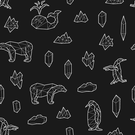 Seamless black and white kids tribal vector pattern with whales, penguins, polar bears and ice floes. Illustration