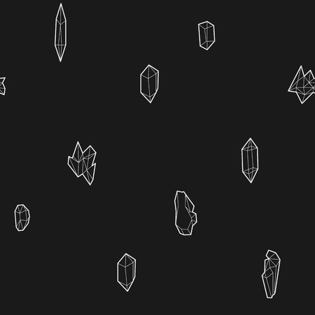 floe: Seamless black and white geometric vector pattern with low-poly crystals.