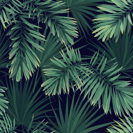 Dark tropical background with jungle plants. Seamless vector tropical pattern with green phoenix palm leaves.