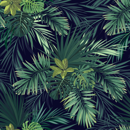 Seamless hand drawn botanical exotic vector pattern with green palm leaves on dark background.