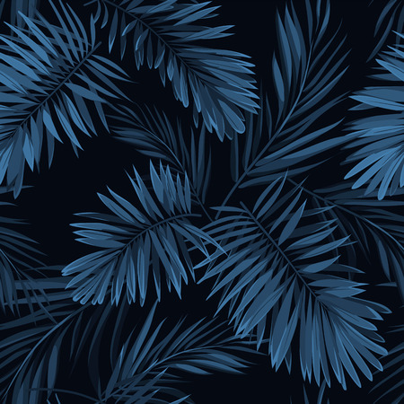 Seamless vector indigo blue pattern with monstera palm leaves on dark background. Summer tropical fabric design.