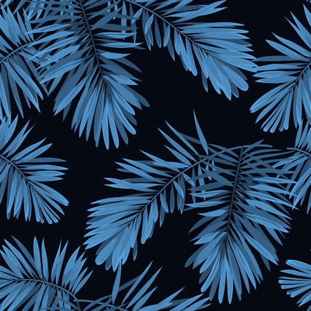 Indigo seamless pattern with monstera palm leaves on dark background. Summer vector tropical camouflage fabric design. Vettoriali